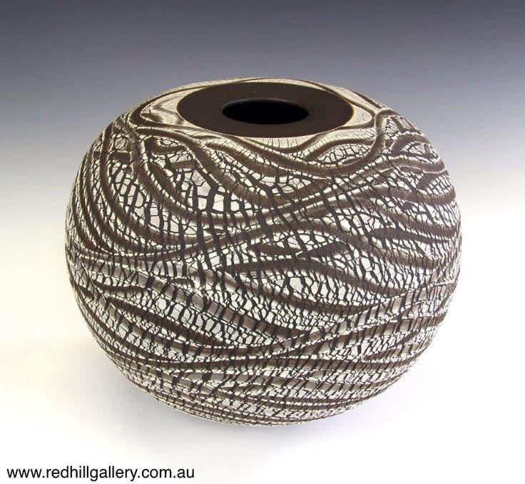 Bill Powell 'Riverbank 2 Manganese Stoneware Blossom Vase' 38x34cm. 61 Musgrave Road, Red Hill Brisbane, QLD, Australia. art@redhillgallery.com.au