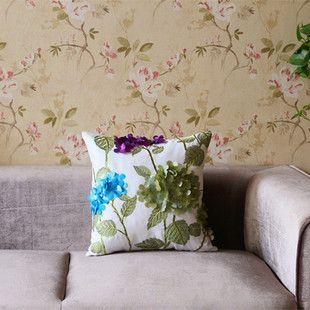 Пастырское стиль высококачественный хлопок цветы ручной сшиты ткани диван подушки подушки дома вышивка оптовой упаковке
