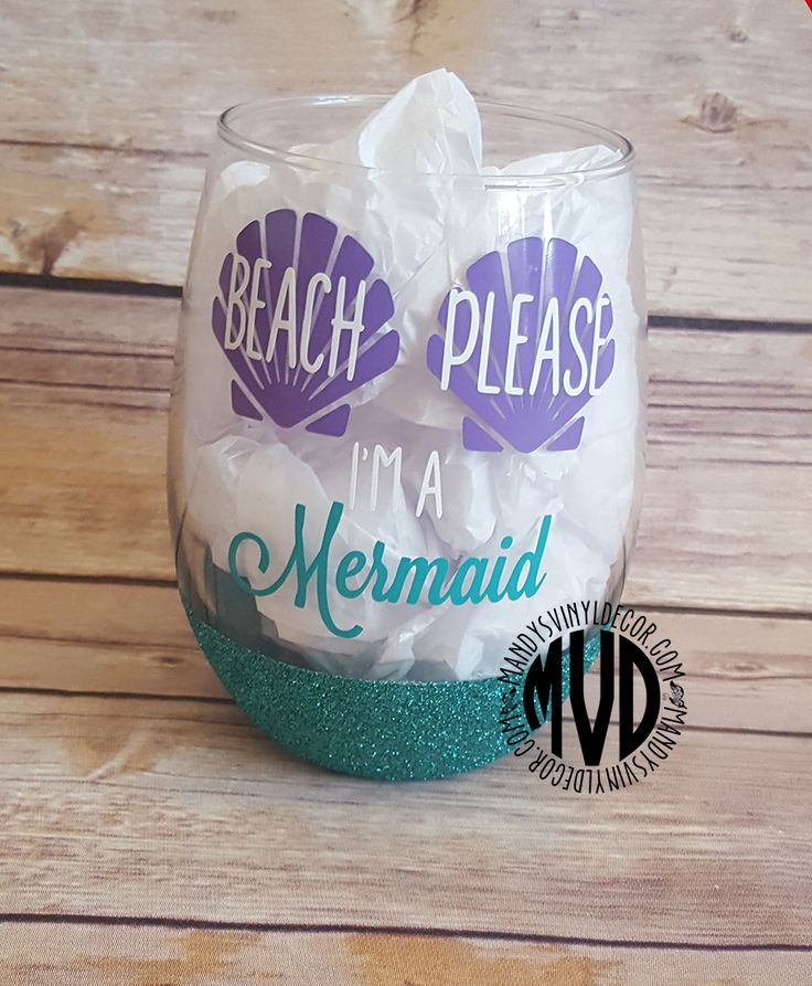 Beach Please I'm A Mermaid Wine Glass