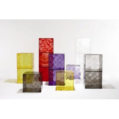 Kartell - kolorowe szafki Optic (fioletowe, czerwone, żółte, przydymione, krystaliczne) #szafki #kartell #meble #wnętrza