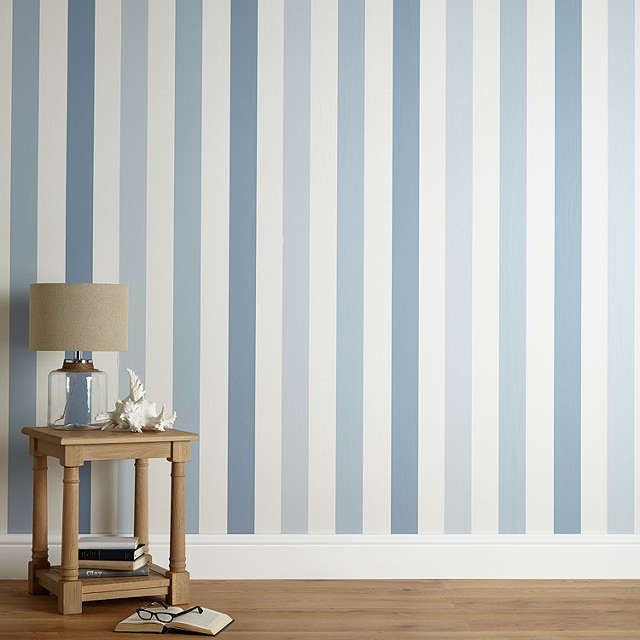 BuyJohn Lewis Padstow Stripe Wallpaper, Pacific Online at johnlewis.com