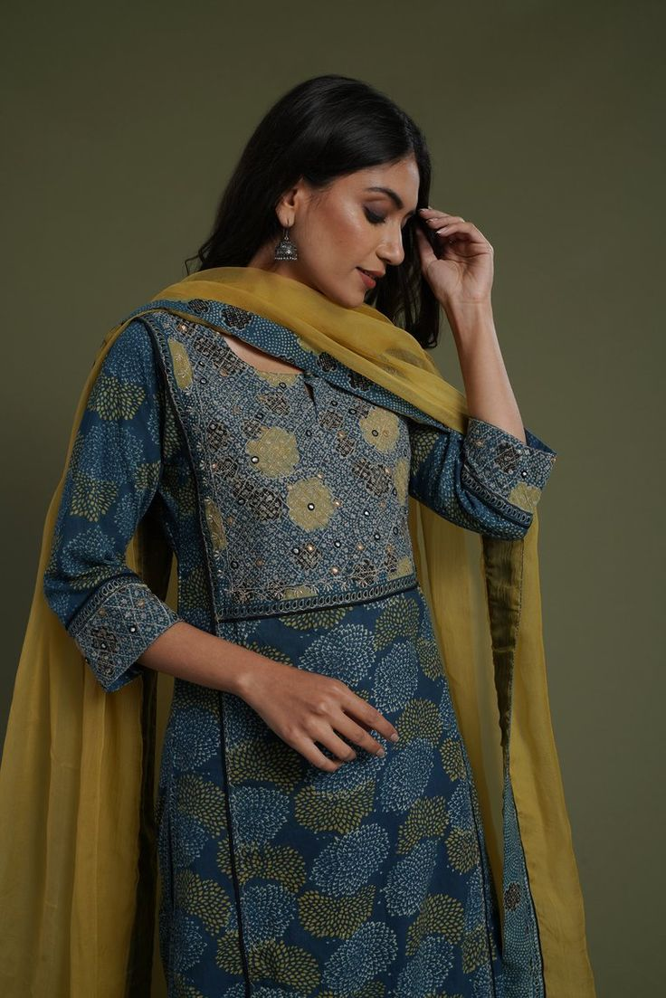 Indigo ochre embroidered yoke kurta blouse design models