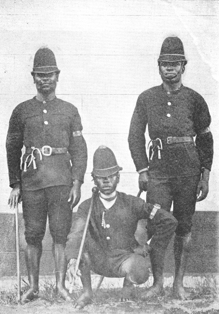 "The native police of Natal. ""They are the most interesting characters in South Africa. The work they have to perform is to keep the natives straight and they are not allowed to arrest the whites. They take much pride in their uniforms."" From War in South Africa, Between the British and the Boers, USA, 1900. Learyworks.com collection."