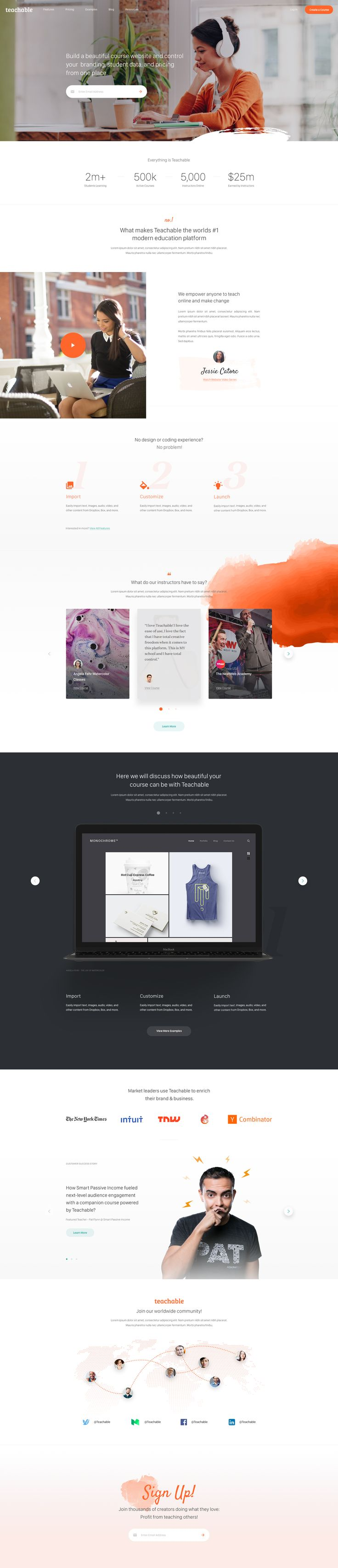 Teachable - Homepage Design