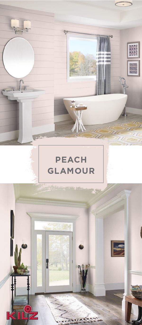 The blush pink hue of Peach Glamour by KILZ Complete Coat Paint & Primer In One would look gorgeous in your home. This chic entryway uses cream and dark wood accents to create a soft and feminine look. Explore the rest of the Complete Coat collection to find the perfect color palette for all of your DIY home makeover projects.