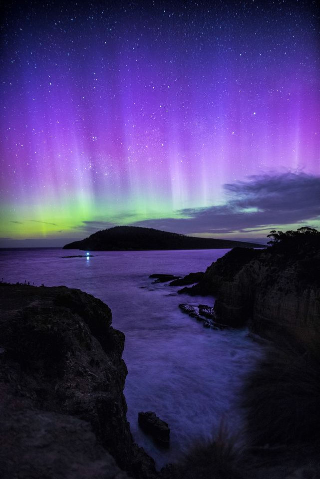 Aurora Australis over Betsy Island, Southern Tasmania.