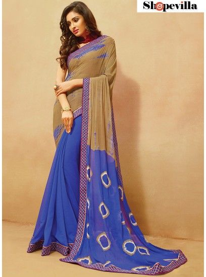 Bandhani Brown Colour Chiffon Printed With Patch Border Work Saree-412