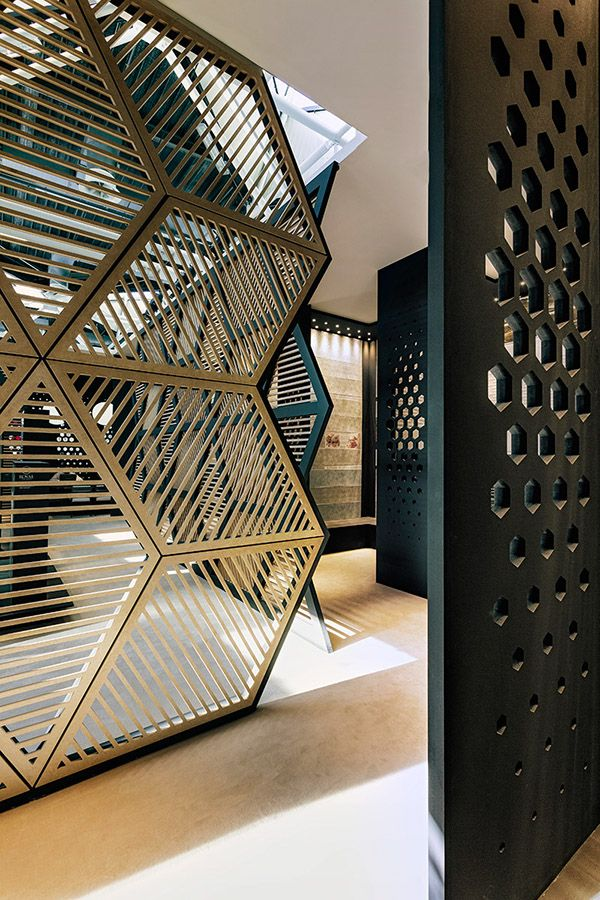 Myriad of geometric screens- ideal for defining specific zones in an open plan layout
