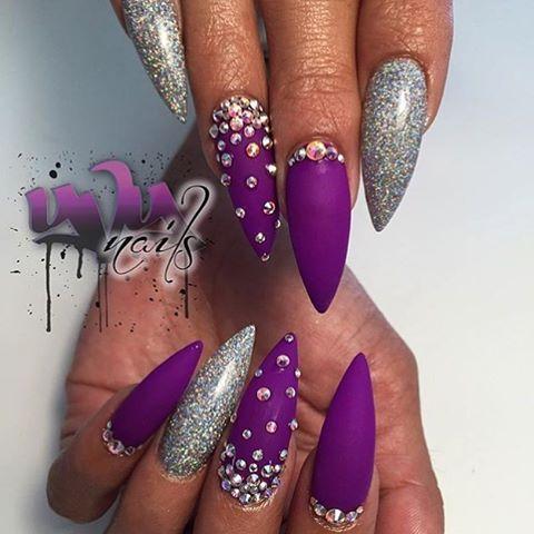 Purple, silver glitter, Swarovski stones, stiletto nail art
