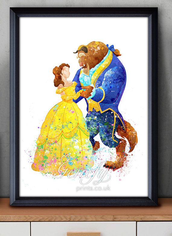 Disney Princess Belle Beauty and the Beast Watercolor Art Print, Disney Belle Beauty and the Beast Poster, Disney, Art, Disney Belle Beaty and the