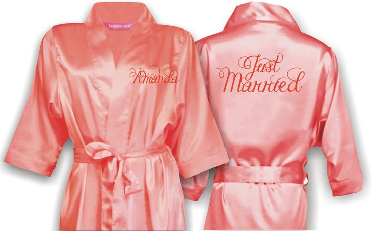 Personalized Bridal Satin Robe with title on the back and name on front. Wedding Accessories