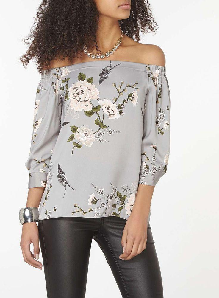 Grey Oriental Bardot Top