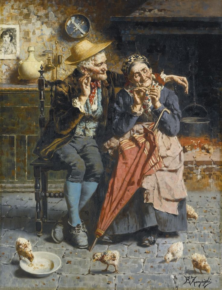 """""""A Stitch in Time"""" by Eugenio Eduardo Zampighi. Undated oil on canvas. Scheduled for auction 22 May 2014 at Sotheby's London. Pre-auction estimate £5,000 to £7,000 GBP. Hammer price with buyer's premium: £6,250 GBP ($10,555 USD). I'm really beginning to enjoy this artist!"""