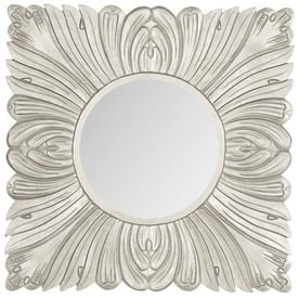 Safavieh 28-In X 28-In Pewter Polished Square Framed Transitional Wall Mirror Mir5001b