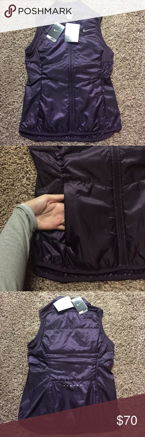 "NWT PURPLE NIKE VEST This vest is amazing. Nike really killed it with this one! Deep purple color, lightweight yet amazingly warm. ""Crafted for Movement"" & packable! Has pockets . Thermosoft technology. Send me an offer! Nike Jackets & Coats Vests"