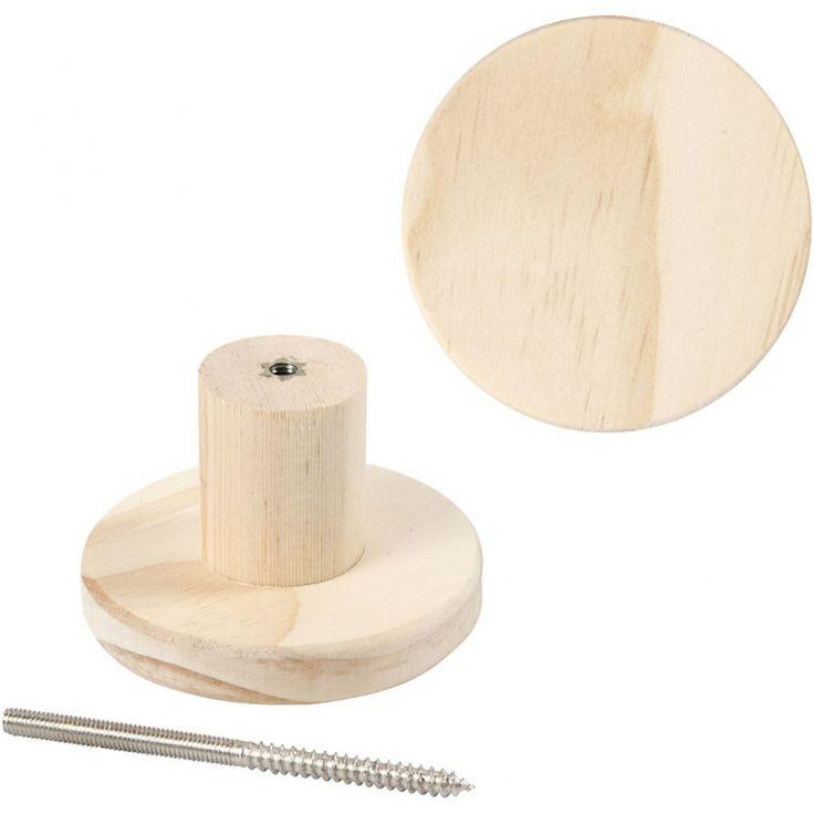 kapstok knop van hout Ronde hanger van licht hout.Inclusief ophang beslag. Leuk…