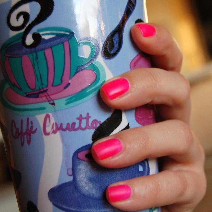 My nail art. Matte neon pink.
