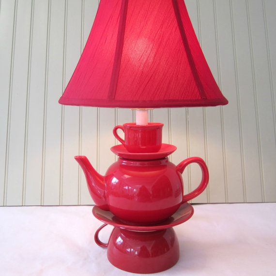 Teapot Lamp, Red Stacked Teapot and Tea Cup, Shabby Chic Country French Cottage Alice in Wonderland Inspired. $80.00, via Etsy.