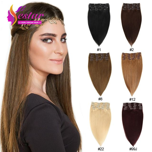 African American Clip in Human Hair Extensions Natural Hair Clip Ins 100% Human Clip In Hair Aplique Tic Tac De Cabelo Humano