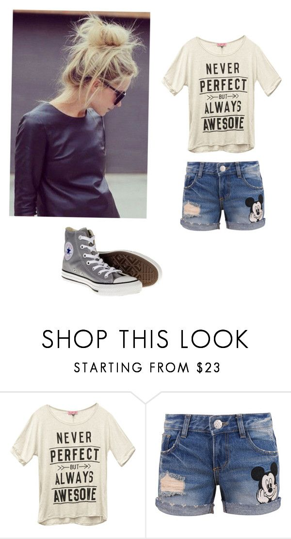 """Hot mess"" by tiarajaxkson ❤ liked on Polyvore featuring Wet Seal, Disney and Converse"