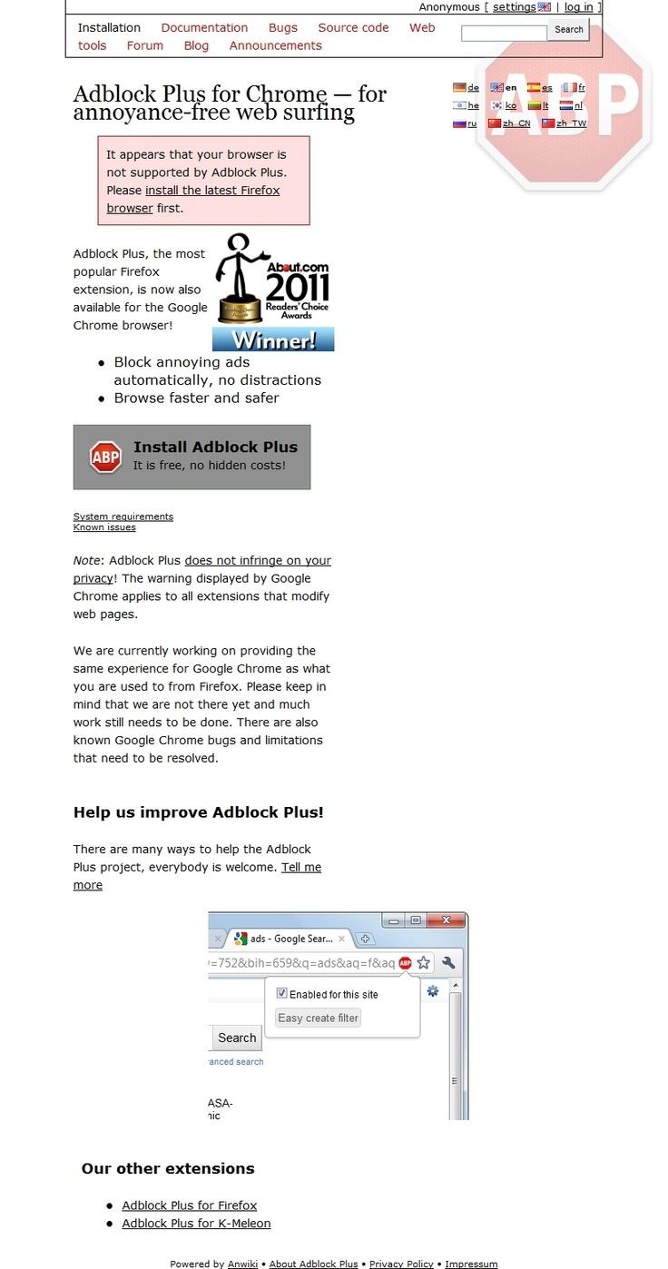 Adblock Plus for Chrome — for annoyance-free web surfing   https://adblockplus.org/en/chrome