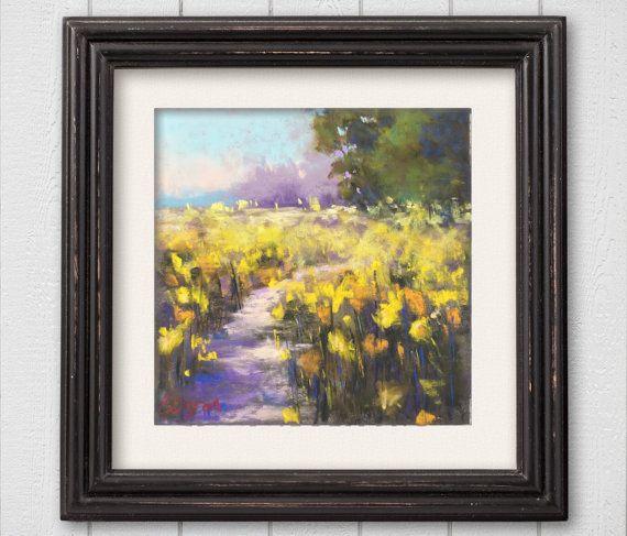 Original Pastel Painting Yellow Flower Field by Bluishpurpletrees