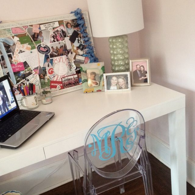 Girls Room Diy Monogrammed Ghost Chair Parsons Desk