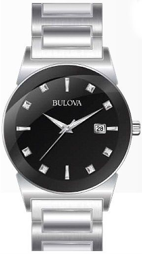 SALE BULOVA BLACK DIAL WITH DIAMONDS STAINLESS STEEL MENS WATCH 96D121