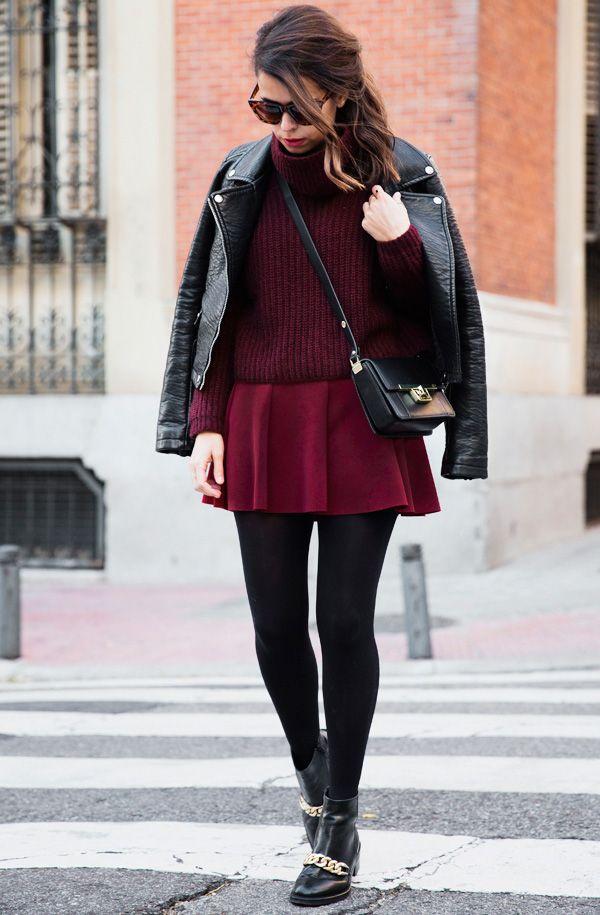 look vermelho com preto e meia calça