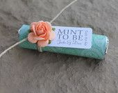 """Mint wedding favors - Set of 30 mint rolls - """"Mint to be"""" favors with personalized tag - mint and coral, mint green, pale pink, mint favors"""