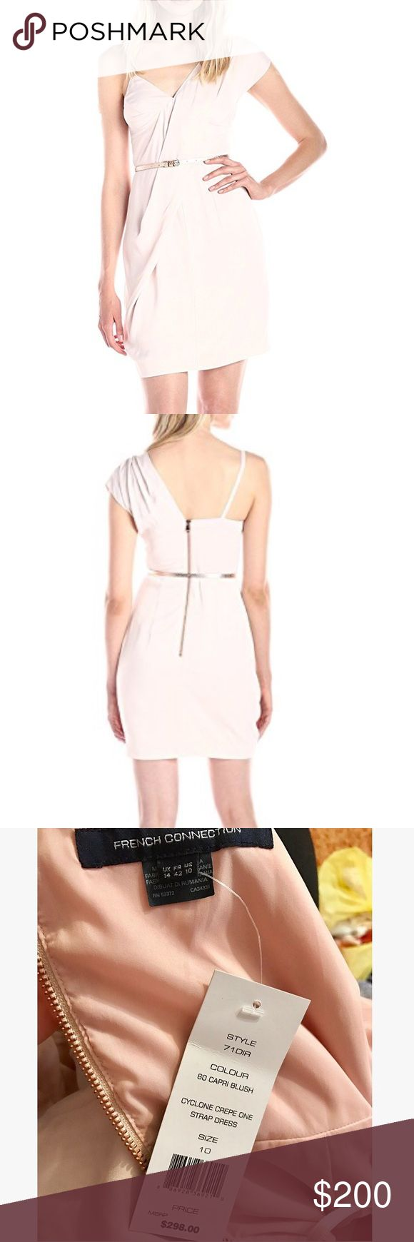French Connection - Cyclone Crepe One Strap Dress Pale pink French Connection dress. Size US 10 but fits 8 perfectly. Has small belt hoops. Belt not included. Never worn - with tags. Brand new! French Connection Dresses Mini