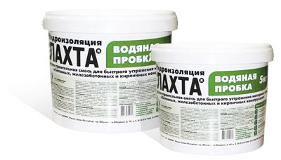 ЛАХТА® водяная пробка предназначена для оперативного устранения протечек и фильтрации воды через трещины, стыки и отверстия в условиях постоянного водопритока в бетонных и железобетонных конструкциях, кирпичной и каменной кладке. Более подробная информация : http://www.ssient.ru/katalog/gidroizoljacija/rastro/lahta/lahta-vodjanaja-probka