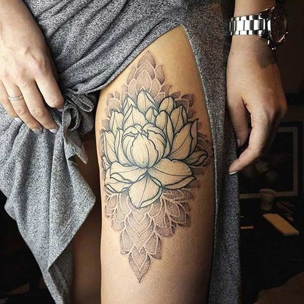 Flower Lotus Thigh Tattoo Idea for Women