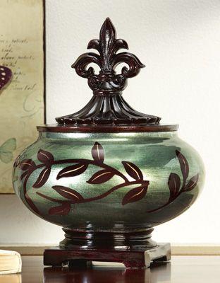 Fleur De Lis Leaf Apothecary Jar For Bathroom Storage