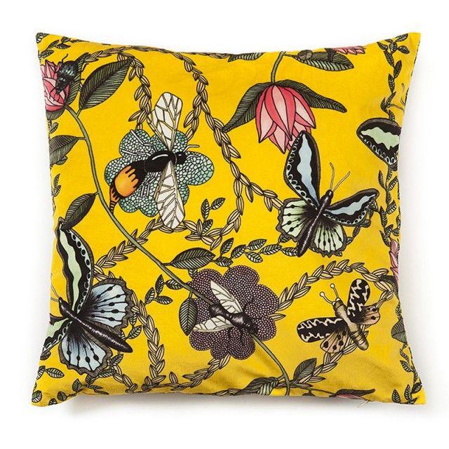 Bugs yellow - cushioncover velvet #nordicdesigncollective #nadjawedin #pillow #cushion #yellow #bugs #nature #design #swedishdesign
