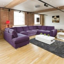 Extra Large Sofa Set Settee Corner Group U / L Shape Purple 4.0 x 2.6m R