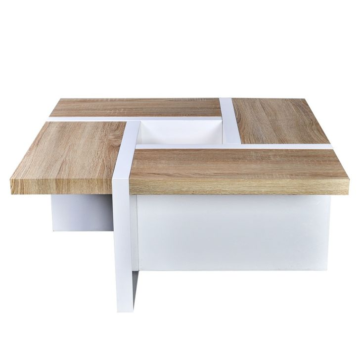 White High Gloss Coffee Table Oak Table Top Details Contemporary Living Room New
