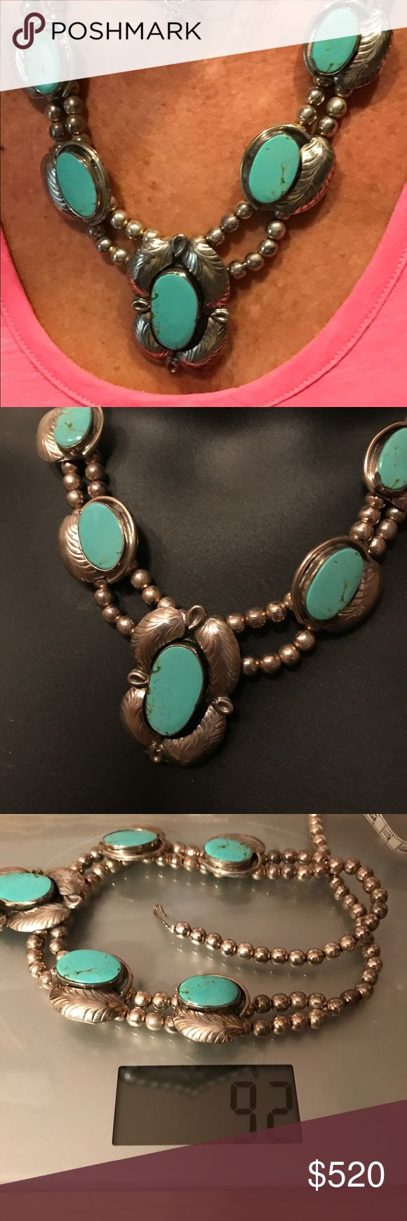 Vintage SS/turquoise Squash necklace this is a vintage Sterling silver and sleeping beauty turquoise Squash necklace. An estate sale find .. relatives didn't know where they had gotten but knew it had been in the family for years. It was a diff makers mark and usually this type of Squash artistic design comes from the native Americans as to why it says made in Mexico, they weren't sure. Which made it even more intriguing... Gorgeous  statement piece!! Each turquoise piece measures around 1…