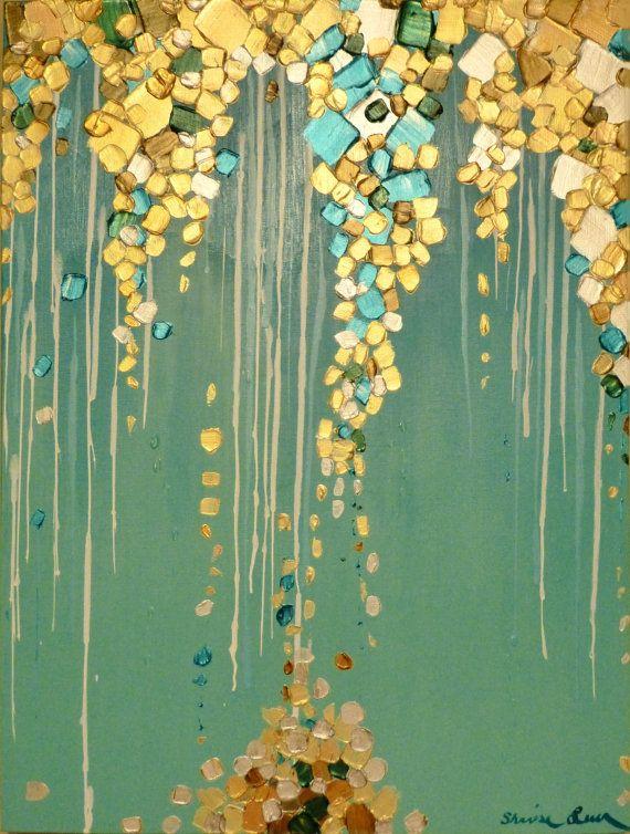 Original moderne abstrakte Malerei metallische von GlassPalaceArts