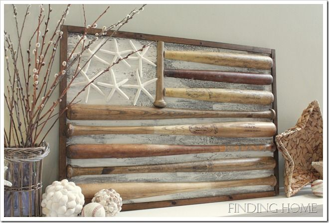 {all american flag made with baseball bats and starfish!} I FINALLY FOUND THIS!!!! --had been looking for this for two weeks! I plan to make this out of sticks/twigs/branches from trees and stars made of twigs!!! LOVE IT!!!