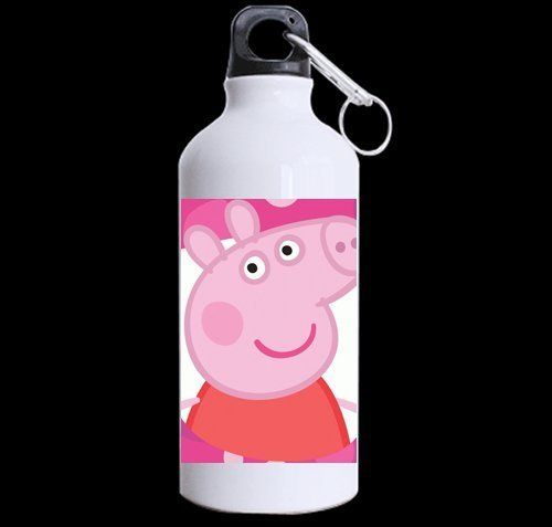 """Custom cute peppa Pig 100% super-strong recycled aluminum Sports Water Bottle Mug 13.5 OZ (Twin Sides). Made of 100% super-strong recycled aluminum. Available in 13.5 OZ. Dimensions: 2.6"""" x 5.9"""". Leak-proof, rustproof and unbreakable bottle. Special and unique design."""