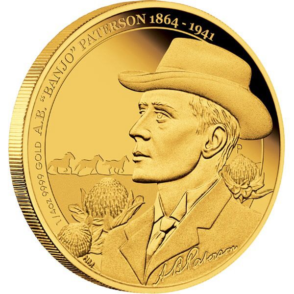 """2014 Banjo Paterson Anniversary 1/4oz Gold Proof Coin. Andrew Barton """"Banjo"""" Paterson CBE (1864 – 1941) is renowned as an Australian bush poet, but he was also a solicitor, journalist, war correspondent, soldier and author.  Paterson grew up in rural New South Wales, which engendered a lifelong love of the Australian bush and its characters."""