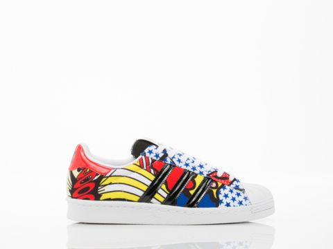 "SUPERSTAR 80S BY ADIDAS ORIGINALS X RITA ORA ($105) 1"" heel, 1/2"" platform. Fabric upper with leather accents, fabric lining, and man made sole. Fits one size large. Women's US sizing converted from Men's sizing per Adidas Size Chart. See below. Women's size US 8 insole measures at about 25.5 cm. Each whole size is 1 cm difference. An ADIDAS ORIGINALS X RITA ORA original. Women's shoe. Imported."