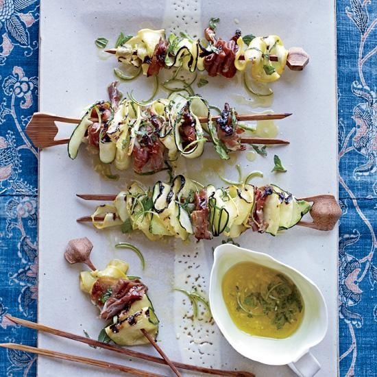 Last gasp of summer with zucchini skewers on the grill?  Grilled Appetizers