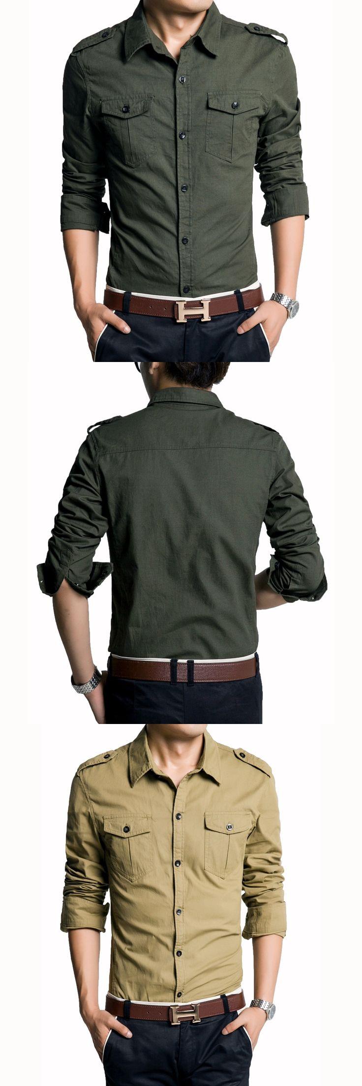 New 2016 Men's Shirt Long Sleeve Military Style Shirts Double Pocket Slim Fit Casual Dress Shirts Men Clothing Brand Shirts