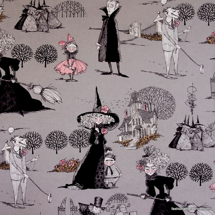 The Ghastlies in smoke by Alexander Henry Fabrics  Large Halloween cotton novelty fabric