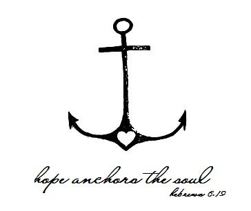 anchor tattoo with religious quote Hope anchors the soul