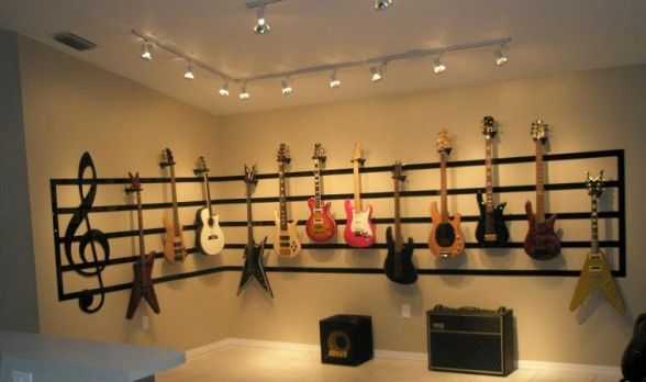 Great Room Guitar Display, 17 x 14 Great Room converted to a display/performance area., Full View 1, Living Rooms Design