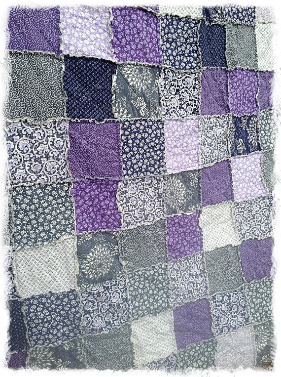 Rag Quilt  Twin Size  Purple and Gray