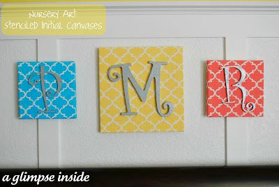 Stenciled Initial Canvases: Wall Art, Initials Canvas, Stencil Initials, Paintings Canvas, Nurseries Projects, Nurseries Art, Monograms Canvas, Kids Rooms, Baby Nurseries